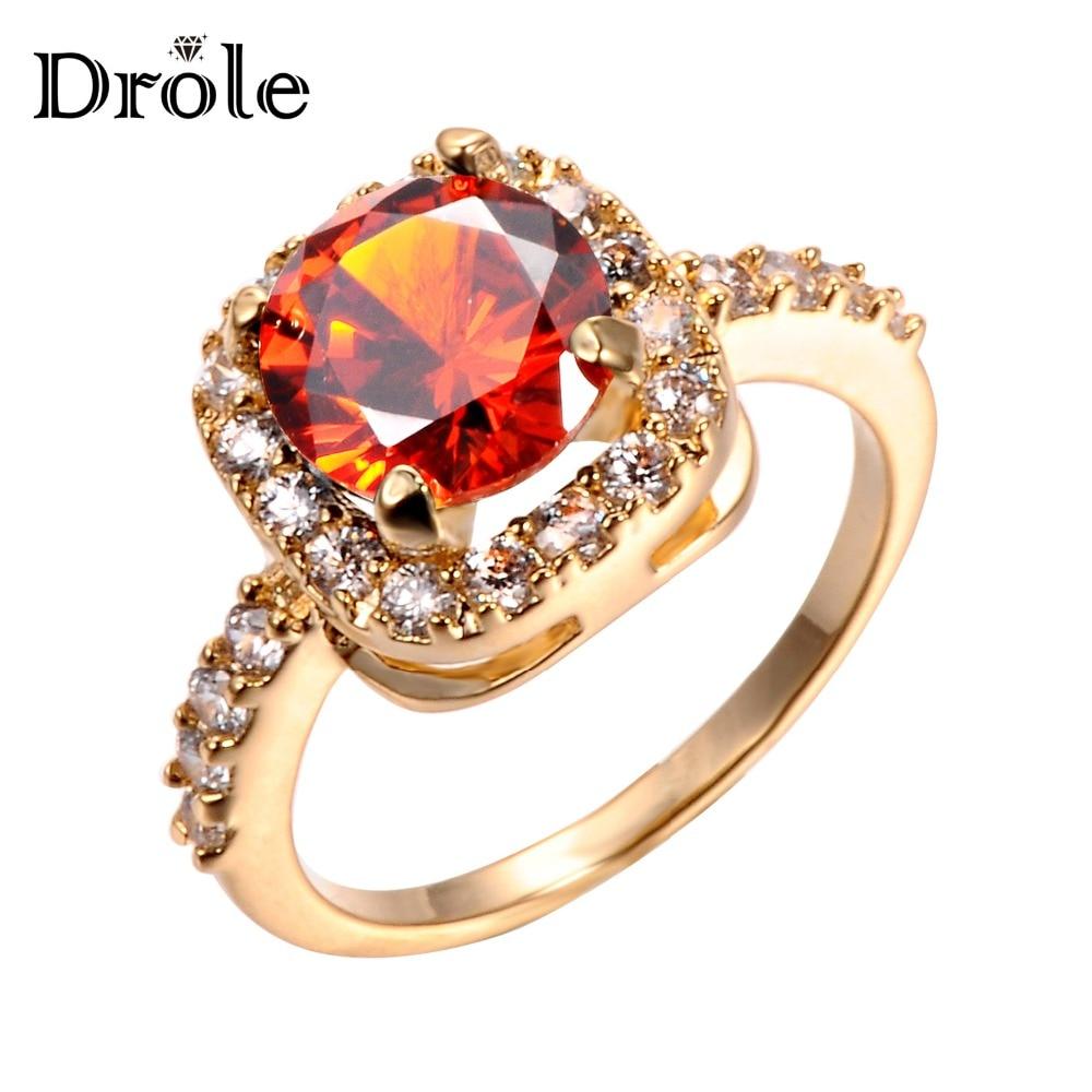 DROLE 2017 Jauns modes dizaina zelts Krāsa Liels cirkons CZ cirkonija akmens gredzeni sievietēm Iesaistīšanās rotaslietas dāvana