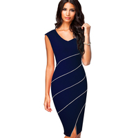 2018 Xu.ing New Casual Women Sheath Fitted Sleeveless Bodycon Pencil Dress Elegant Classic V Neck Split Summer Dress