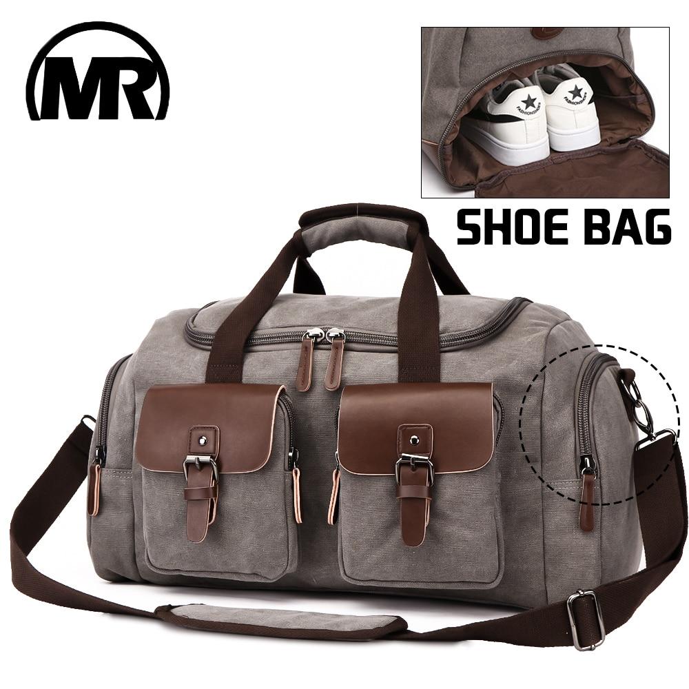 MARKROYAL Canvas Leather Men Travel Bags European Style Travel Bags Handbag High Capacity Shoulder Bag Travel Crossbody Baggage