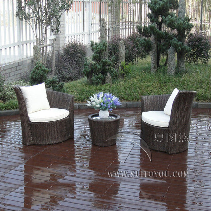 3 Pcs Outdoor Garden Brown PE Rattan Obelisk Chair With Aluminum Frame Transport By Sea