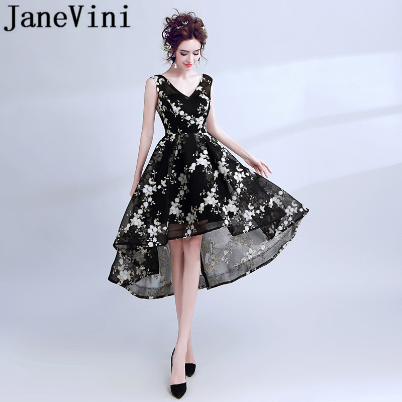 a50514d80bc JaneVini модные черные 2018 невесты платья Тюль Высокий Низкий v-образным  вырезом кружева вышивка простой