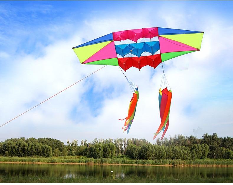 Nouveau cerf-volant simple ligne pour adultes grand cerf-volant Radar 3D volant avec queue de cerf-volant jouets de plein air Sport amusant plage parc volant