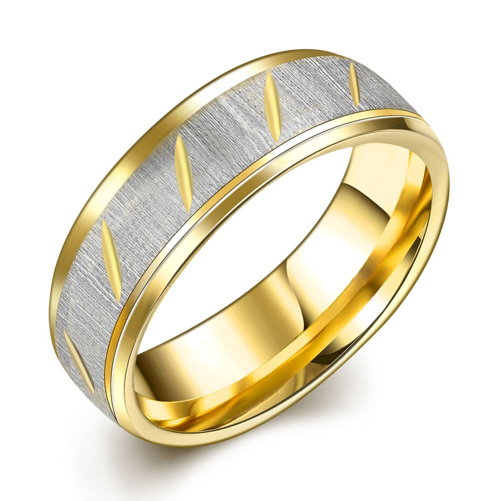 MEGREZEN Mens Wedding Ring Male Fashion Stainless Steel Stoned Rings ...