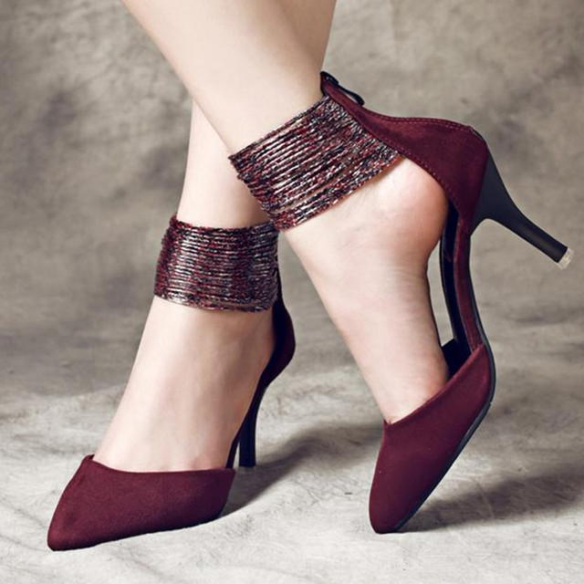 Europe Latest styles Wine red, black sexy high heels women pumps Suede ankle strap large size women shoes obuv ayakkab