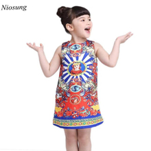 Niosung New Fashion Kid Baby Girls Head Printing Sleeveless Pincess Vest Full Dress Clothes Child Princess Cotton Blended
