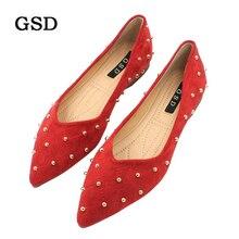 Г. Новая модная обувь женская обувь на плоской подошве высокого качества, повседневная обувь из флока без застежки женская обувь на плоской подошве с острым носком и заклепками zapatos de mujer