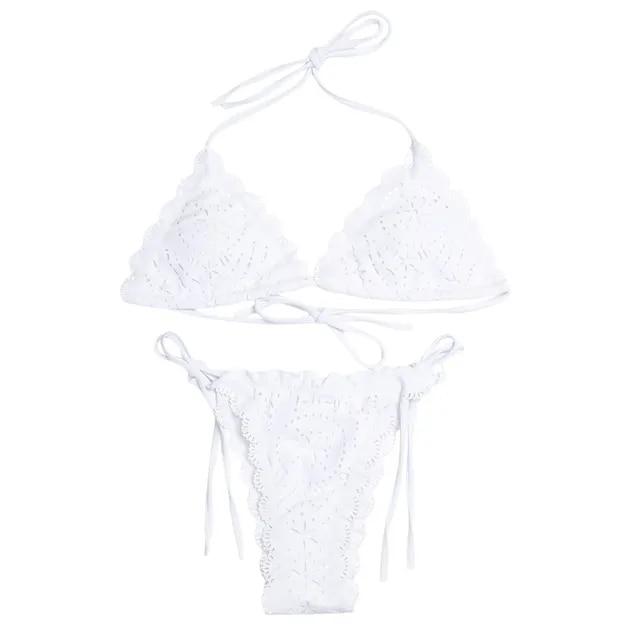 Halter Neck Swimwear Women Swimsuit Backless Padded Sexy Bikini Hollow Out Low Waist Bikini Set Maillot De Bain Femme