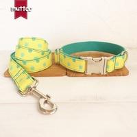 10pcs/lot MUTTCO wholesale handmade fresh style dog accessory THE DINOSAUR FOOTPRINTS print dog collar and leash 5 sizes UDC052