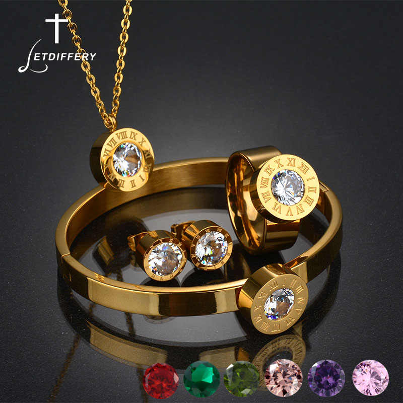 Letdiffery Gold-color Brand Roman Number Jewelry Set CZ Stone Interchangeable Jewelry Set For Women Wedding Gift