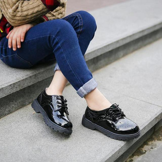 Children Genuine Leather Wedding Dress Shoes For Girls Boys Kids Black School Performance Formal Flat Loafer Moccasins Shoes New