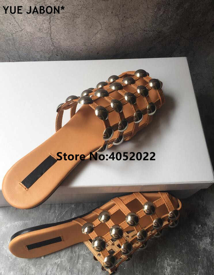 1911113e6 YUE JABON Brown Leather Beach Sandals Mules Slip On Pearl Crystal Studded  Slippers Women Flat Slides