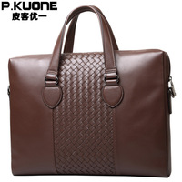 Brown Men Genuine Leather Briefcase Messenger Bags Men Bag For Notebook Men Shoulder Bag Brand Leather Office Bags P630530
