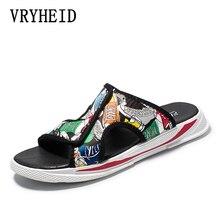 купить VRYHEID Brand Summer Men's Slippers Fashion Outdoor Slides Indoor Non-slip Slippers Beach flip flops Personalized men slippers по цене 1438.06 рублей