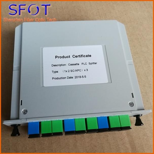 3 1*2 PLC Fiber Optic Splitter, Cassette type, Used in FTTH Box, SC/APC connector, 6pcs a lot