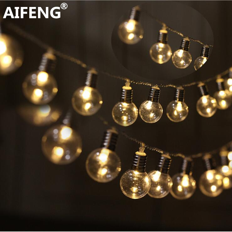 AIFENG 3 AA Battery Powered Styles Led Globe 20 Bulb Wedding Fairy String Fairy Light Garden Garland Decoration LED String Light