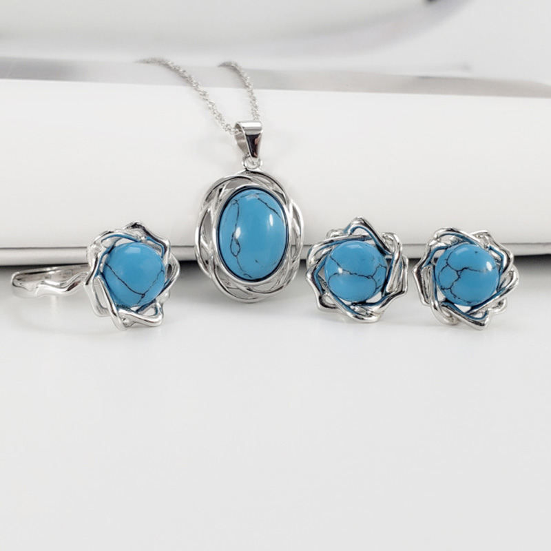 Guaranteed s925 Silver Jewelry Set Retro Vintage Womens Accessories With Natural Onyx Turquoise Stone Fashion Charm Jewelry Guaranteed s925 Silver Jewelry Set Retro Vintage Womens Accessories With Natural Onyx Turquoise Stone Fashion Charm Jewelry