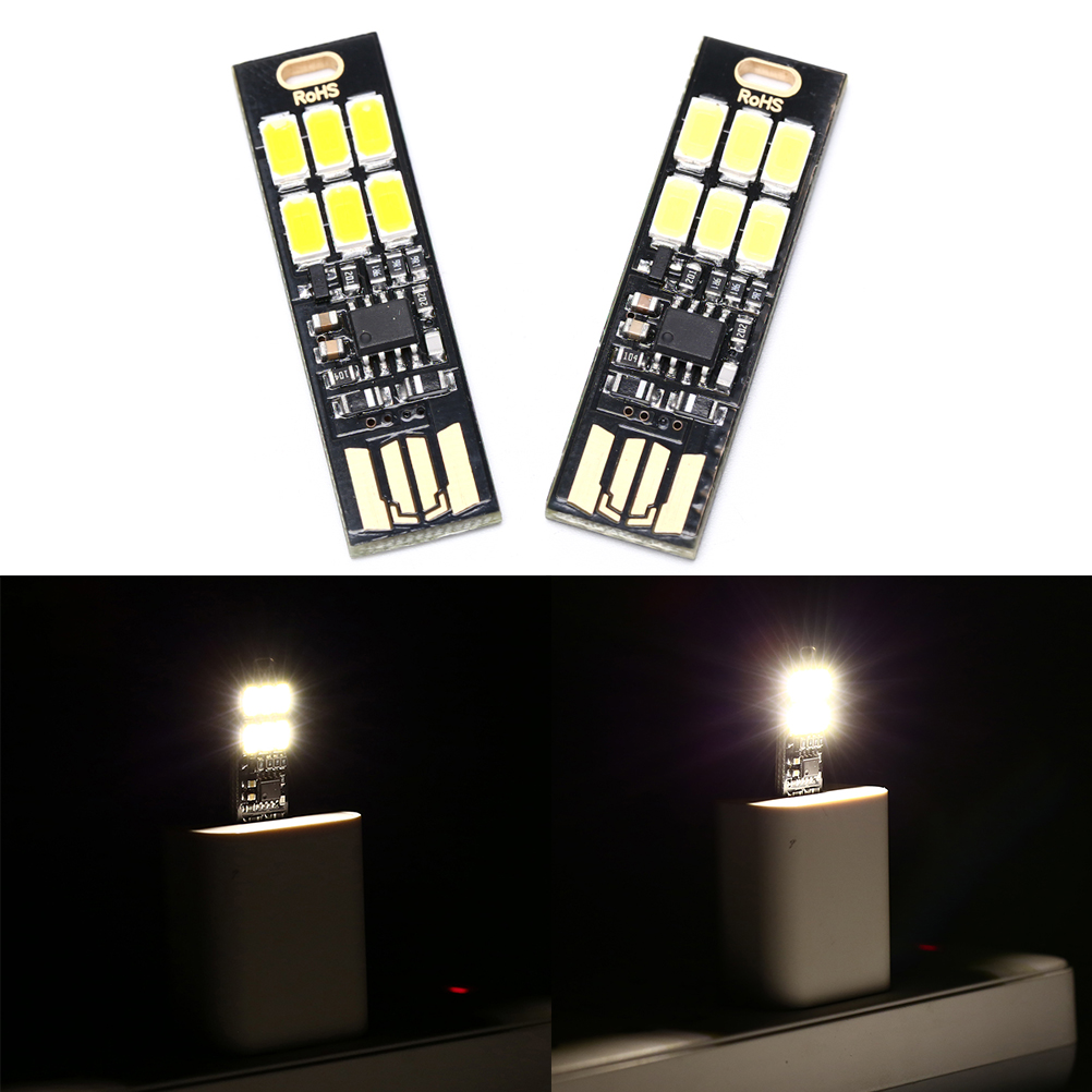 New 1pcs Mini Pocket Card USB Power 6 LED Keychain 1W 5V Touch Dimmer Warm Light For Power Bank Computer Laptop USB 6 LED Lamp