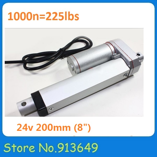 Factory price 8inch/200mm stroke linear actuator 24v dc motor, 1000N/100kgs load 1PC