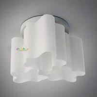Современный минималистский три огни Стекло потолочный светильник Европейский Creative Cloud заподлицо лампа для детской комнаты Спальня cl118