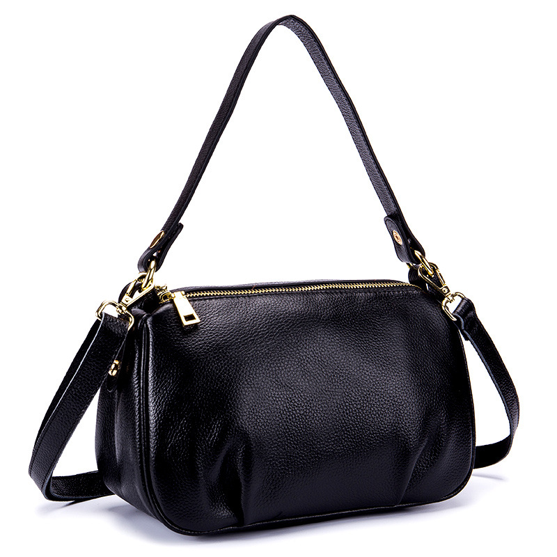 Multilayer Zipper Hobos Shoulder Bags Women's Real Leather Tote Bag Mom Bolsas Femininas Luxury Black Women Bag Female Handbag 2018 luxry brand women leather handbags lady large tote bag female shoulder bags bolsas femininas sac black red cross velvet