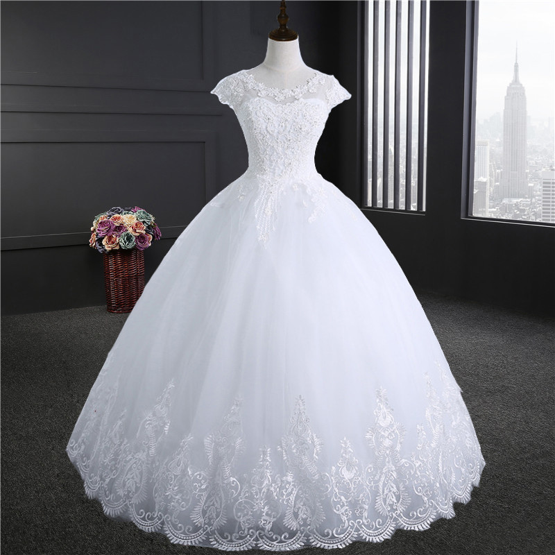 Embroidery Lace Edge Lace Up Ball Gown Quality Wedding Dresses 2018 Customize Plus Size Bridal Dress Real Photo