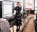 S-2XL Цветочный Принт Maxi и Long Dress Дамы Весна Длинным Рукавом Шифон Dress Плюс Размер Цветочным Узором Midi Повседневная Dress Vestido