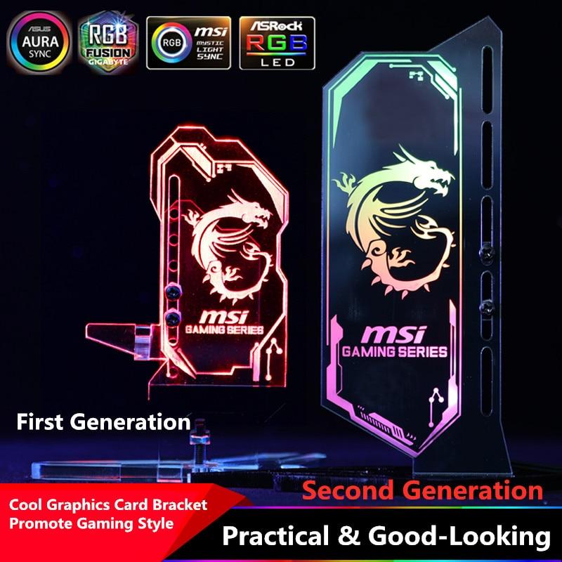 RGB Acrylic GPU Bracket Multi Style Illuminated Graphics Card Bracket Chassis Belief Lamp Vertical Jack Support ASUS AURA