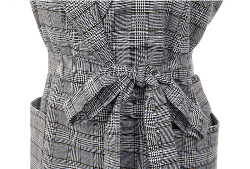 Elegant Gray Bow Sashes Split Sleeve Plaid Office Blazer Jacket