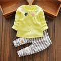 New 2016 Kids Baby Girl Boy Clothes Autumn 2pcs sets Flower Cardigan + Striped Pants Outfit Newborn Bebes Bebek Giyim Infant set
