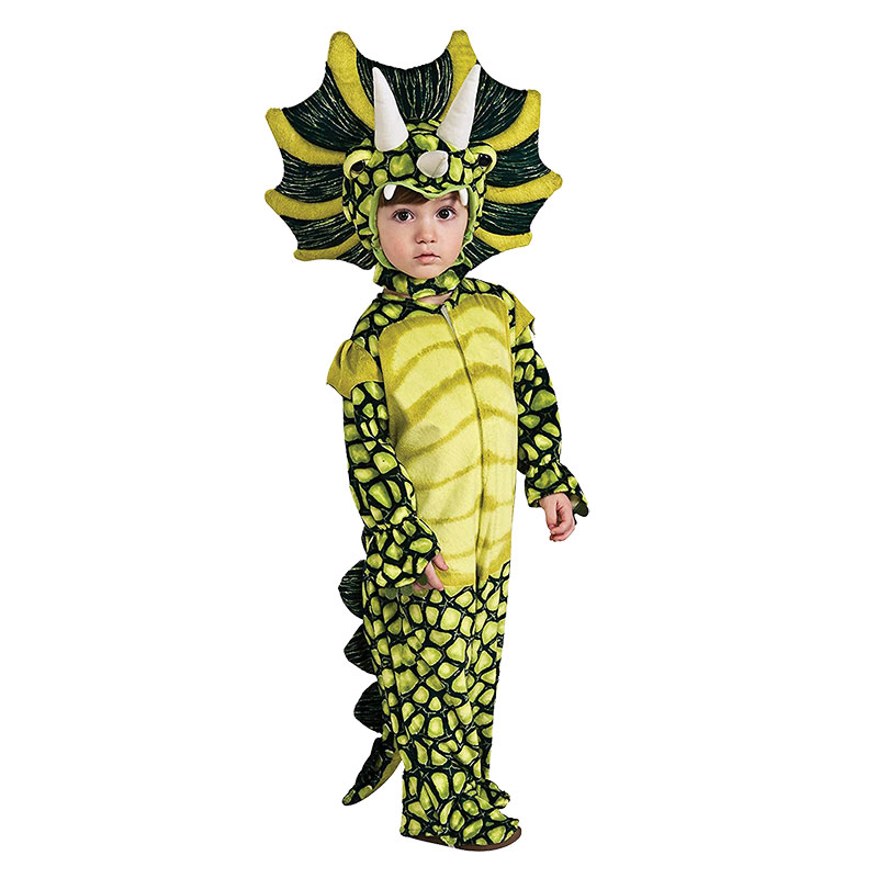 Lovely Kids Unisex Triceratops Costume Halloween Carnival Animal Cosplay Costume Children High Quality Green Dinosaur Outfit