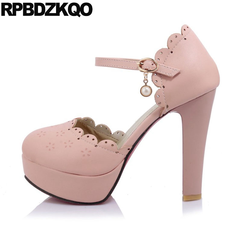3bf99091772 Ultra Ladies Cute High Heels Thick Round Toe 10 42 11 43 Pink Big Size 12cm  5 Inch Pumps Flower Ankle Strap Nude Platform Shoes