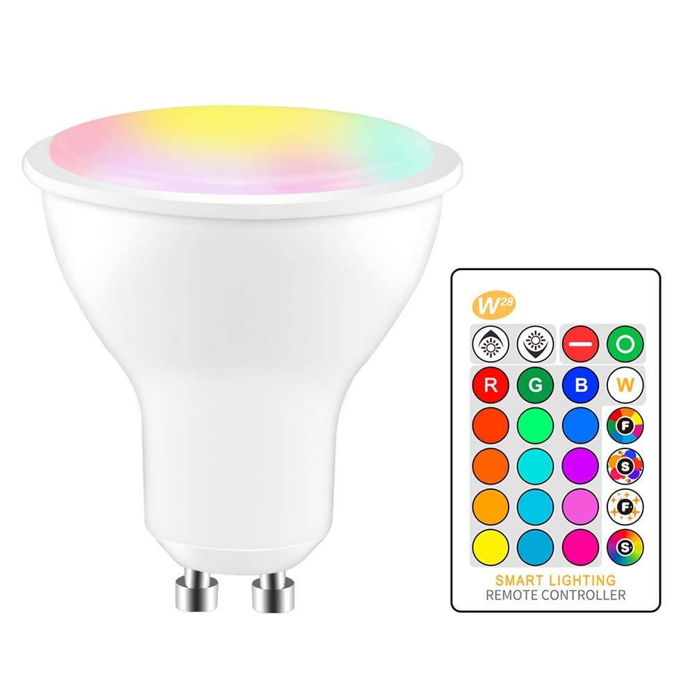 Приглушаемая Светодиодная лампа GU10 RGB +, 8 Вт, светодиодный прожектор с теплым белым светом, умная Светодиодная лампа