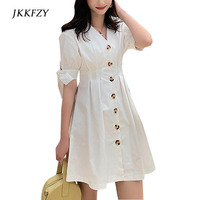 2019 Summer New Women Bow Sleeve V Neck Single Breasted White Dress Fashion Elegant Casual Dressess