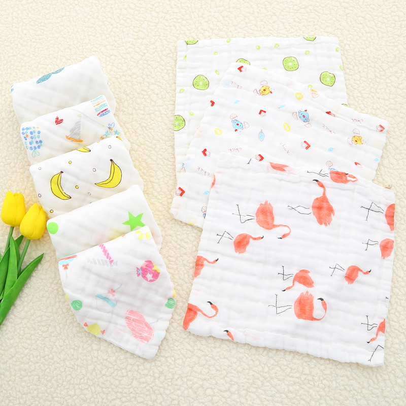 8pcs/lot Baby Feeding Towel Newborn  Cotton Towel Teddy Bear Bunny Printed Children Small Handkerchief Gauze Nursing 25*25cm