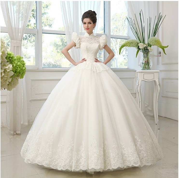 New Sleeve Muslim Princess Wedding Dress Bridal Gown