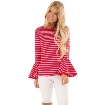 T Shirt Women Fashion Women's T-shirts 2018 Female Round Neck Striped Trumpet Sleeve Long Sleeve T-shirt Red Tops Women Shirts
