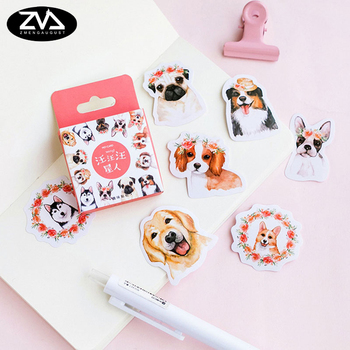 46pcs/box cute small dog Kawaii Mini paper stickers Diary decoration diy scrapbooking label seal Hand account sticker stationery 50pcs box sweet heart cake paper sticker decoration stickers diy ablum diary scrapbooking label sticker kawaii stationery