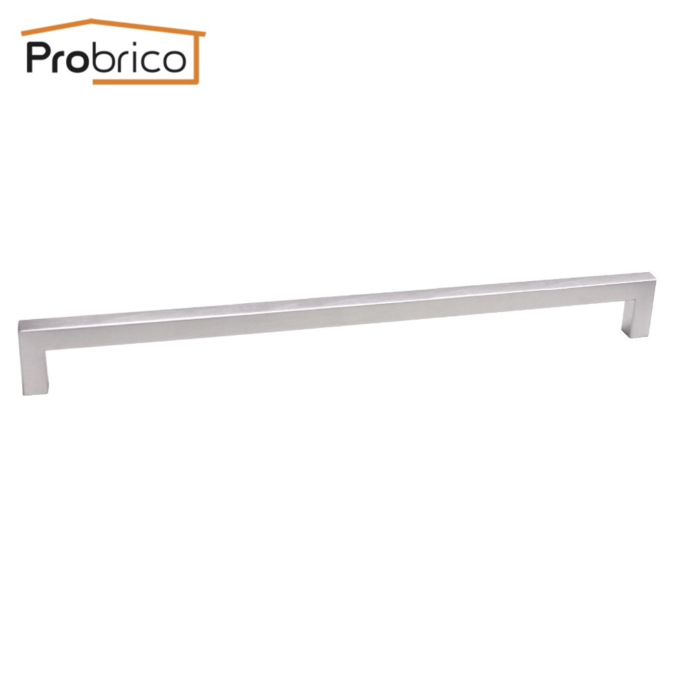 Probrico 12mm*12mm Square Bar Handle Stainless Steel Hole Spacing 320mm Cabinet Door Knob Furniture Drawer Pull PDDJ27HSS320 probrico 10mm 20mm square bar handle stainless steel hole spacing 128mm cabinet door knob furniture drawer pull pddj30hss128