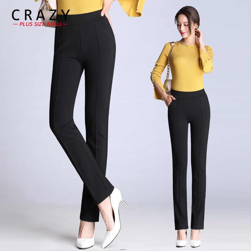 Crazy Plus Size Mall New M-9XL Women Long Elastic OL Pants 2019 Summer Skinny Pants Big Size Black White Office Business Pants