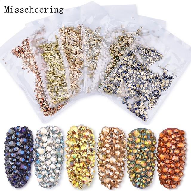 1pack Shiny Mixed Size (SS3-SS20) Crystal Colorful Flat Nail Art Rhinestone  Decorations 88e2c6bb883b