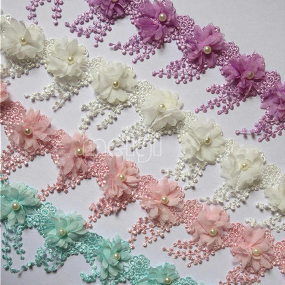3f92a7d9d83 1 Meter 9cm Pearl 3D Flower Tassel Lace Edge Trim Ribbon Fabric Embroidered  Applique Sewing Craft