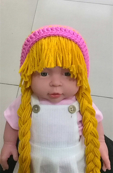 newborn baby hat cabbage patch hat pigtail wig costume photo props halloween