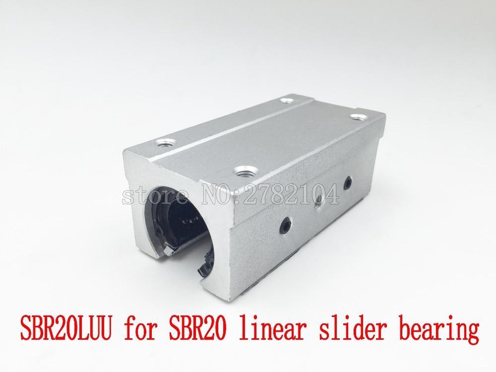 SBR20LUU aluminum block 20mm Linear motion ball bearing slide block match use SBR20 20mm linear guide rail 1pcsSBR20LUU aluminum block 20mm Linear motion ball bearing slide block match use SBR20 20mm linear guide rail 1pcs