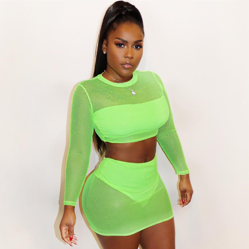 Female Fluorescence Mesh Two Pieces Sets Women See Through Long Sleeve Crop Tops+Bodycon Party Mini Skirt Set Sexy Club Outfits