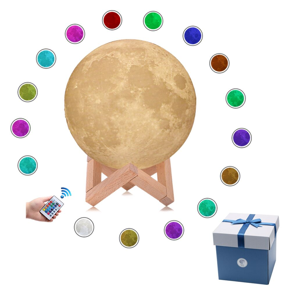 Moon Lamp 3D Printing Led Night Light Moonlight Lamp USB Powered Touch Control 8-20CM Lunar Moon Night Light With Wood Holder moon flac wood