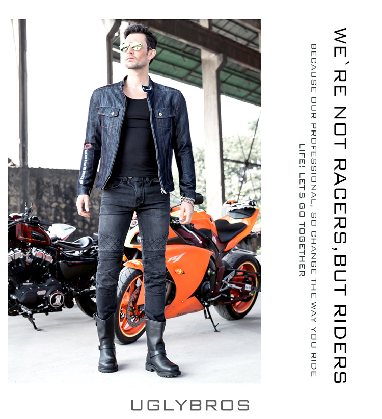 2016 The newest uglyBROS UBS09 motor pants Motorcycle jeans Road riding jeans four sets of protective gear man pants man jeans the locomotive car off road motorcycle 4 sets of four summer leggings kneecaps fall proof stainless steel brace length