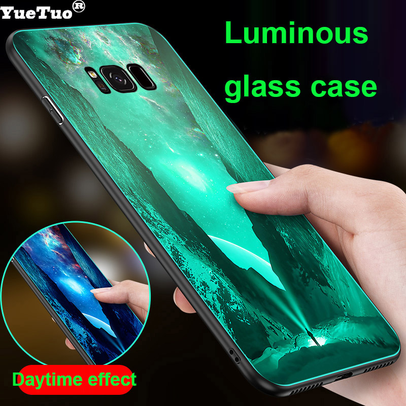 YueTuo Luminous Tempered glass case for <font><b>samsung</b></font> <font><b>galaxy</b></font> s8 s9 plus s8plus s9plus <font><b>s</b></font> 8 <font><b>9</b></font> luxury original phone hard back cover etui image