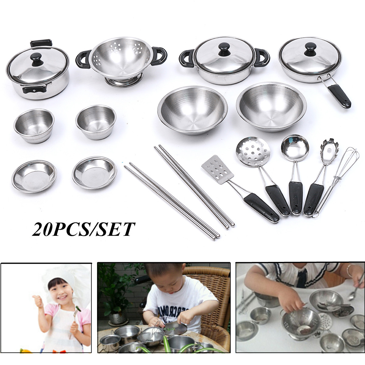 20PCS Smooth Stainless Steel Kitchen Toy Stainless Steel Mini Play House Kitchen Model Cookware Kids Toy Children Gift