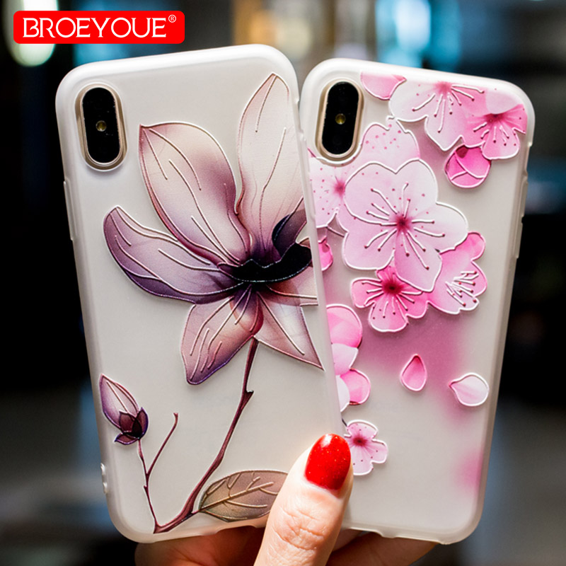 Flores Retro Case Para iPhone 7 8 Plus 3D Alívio de Luxo Capa Para o iphone X SE 5 5S 6 6 S Plus TPU Macio Fosco Caso de Telefone de Silicone
