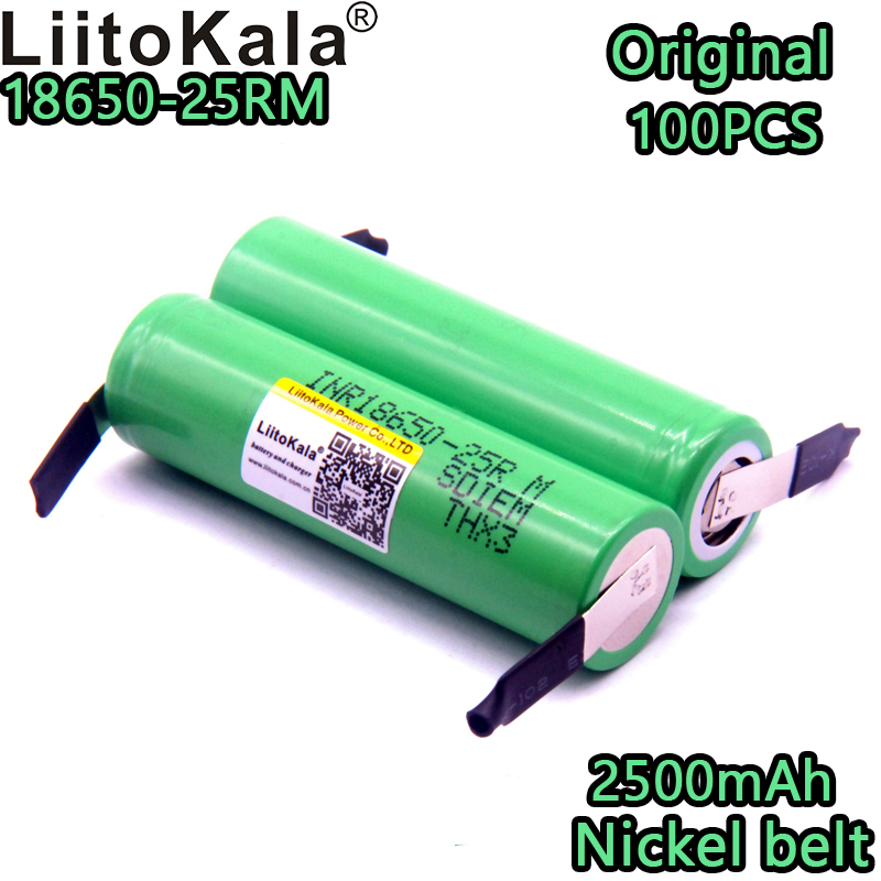 100 pièces Liitokala Nouvelle Marque 18650 2500 mAh batterie rechargeable 3.6 v INR18650 25R M 20A télécharger + bricolage Nickel